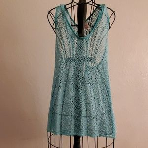 OP Turquoise Blue Beach Swim Suit Cover Up XL